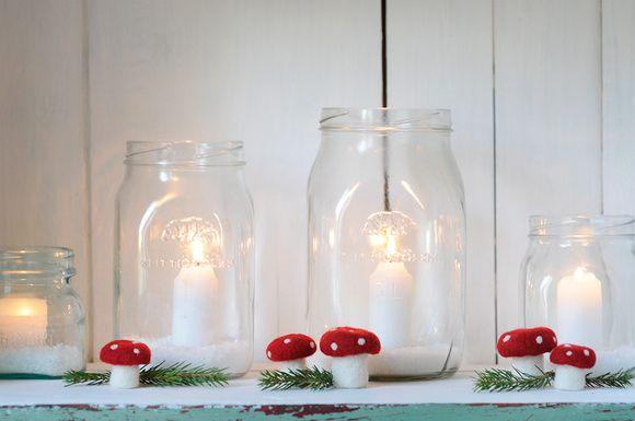 joulu,joulukoriste,kynttilä,lasitölkki,riihimäki,karhula,suola,kärpässieni,Tee itse - DIY