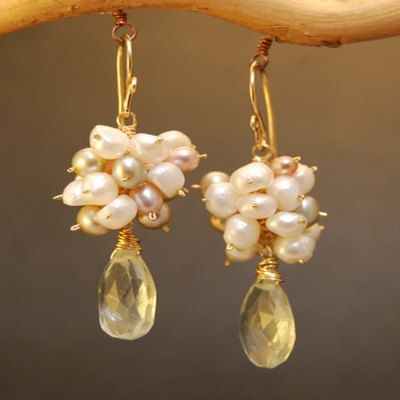 Earrings Mixed Pearls Gold Silver Mixed Color Pearls by Lexpulsity