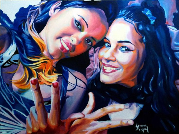 ORIGINAL Oil Painting Portrait Canvas Cousins 15 Girl Realism Modern