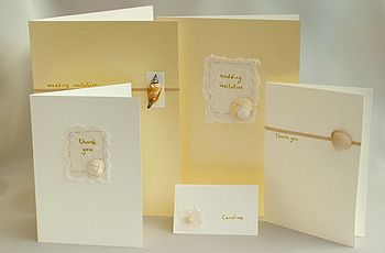 aroline and Chris bespoke design handmade shell wedding invitations