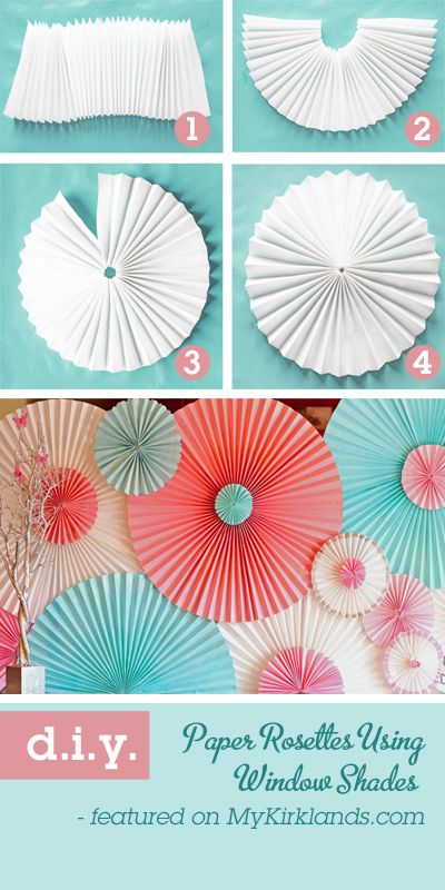 Paper Rosettes from store bought paper window shades! Great party decor! Pin this image at MyKirklands.com for a chance to win a weekly prize pack!