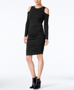 Bar Iii Cold-Shoulder Bodycon Dress, Only at Macy's - Black XXS