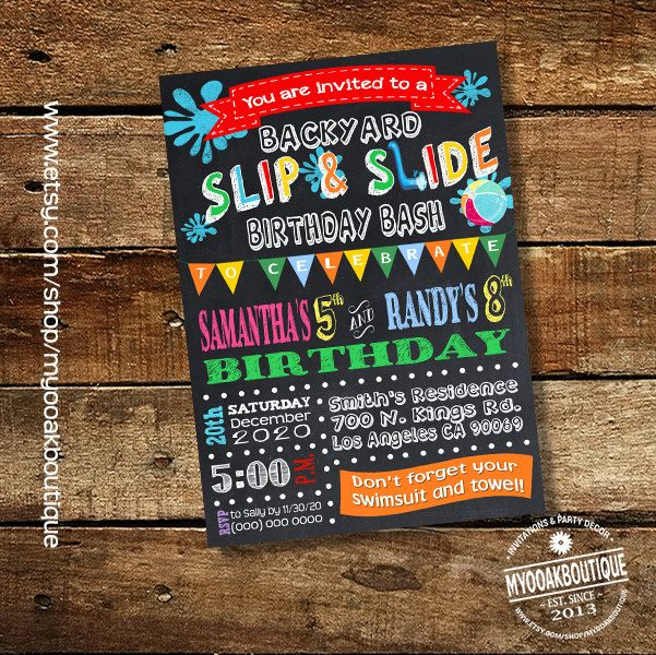 Slip and Slide backyard bash invitation birthday party water slide invite chalkboard joint siblings digital printable invitation 13566 by myooakboutique on Etsy