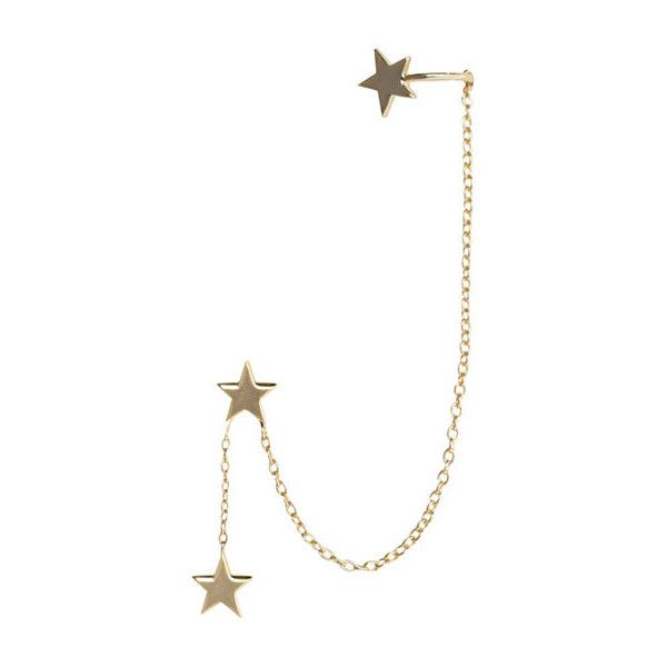 ZIMMERMANN Star Chain Ear Cuff found on Polyvore featuring jewelry, earrings, accessories, pendant earrings, earring jewelry, ear cuff jewelry, star stud earrings and chain pendants