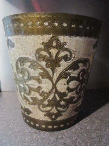 винтажный итальянский флорентийский стиль вручную корзина для мусора урны золото белый подносы и подставки in Антиквариат, Декоративное искусство, Роспись по металлу | eBay