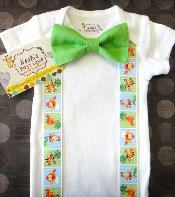 Jungle Birthday Party Bow Tie Onesie, Jungle Theme Birthday Shirt by Noahs Boytiques, $16.00