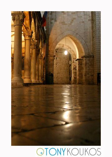 arches, columns, stone, masonry, lantern, flag, night, dubrovnik, croatia, europe, travel, photography, art, Tony koukos, places