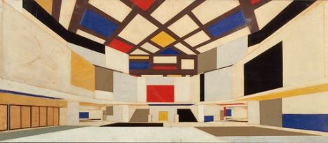 Theo van Doesburg Colour design for university hall, in perspective, towards the staircase 1923 A design for a hall in south Amsterdam by Cornelis van Eesteren, not realised Pencil, gouache and collage on paper 62 x 144 cm