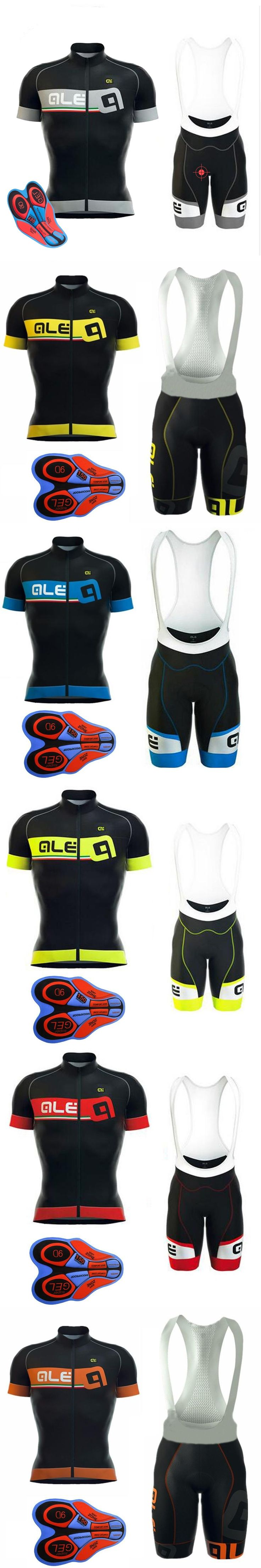 2017 Ale Cycling Jersey set Man Short Sleeve Breathable ropa Ciclismo Mountain Bike shirts bicycle bib shorts 9D gel pad