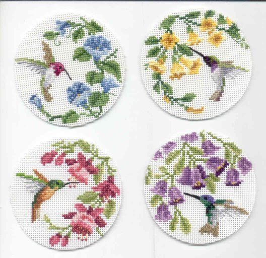 Hummingbird Cross Stitch Kits | Hummingbird Coasters Cross Stitch
