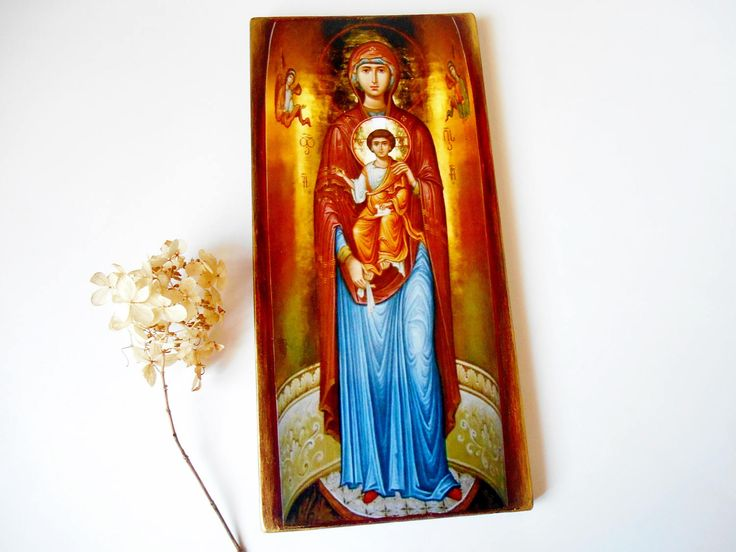 Byzantine Icon Theotokos with the Christ Cild Handmade Decoupage Antique Icon Greek Icon Large Igon 5 1/2 x 11 1/2  Woodden Icon from Canada by SpiritualGiftGallery on Etsy