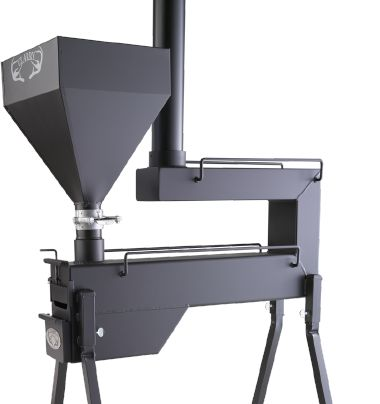 """A gravity fed wood pellet stove that operates without any electricity required. Uses are for hunting/camping tents, ice fishing, """"off grid"""" cabins, barns, out buildings, line shacks, detached work shops and garages."""