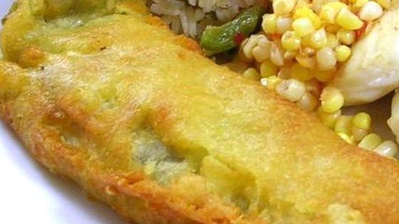 Delicious green chiles stuffed with cheese, dipped in a special batter and fried in canola oil.