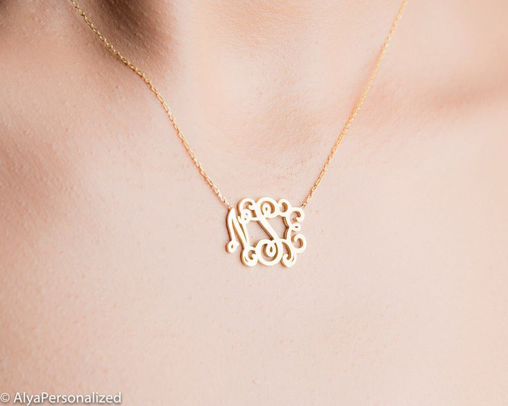 Personalized Necklace - Gold Monogram Necklace - Personalized Monogram Necklace - Personalized Jewelry - Small Monogram Necklace by AlyaPersonalized on Etsy https://www.etsy.com/listing/468627134/personalized-necklace-gold-monogram