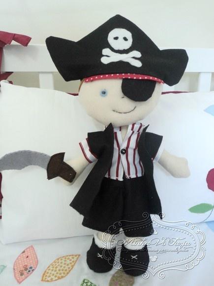 Lillte pirate boy!! Boneco Pirata de feltro