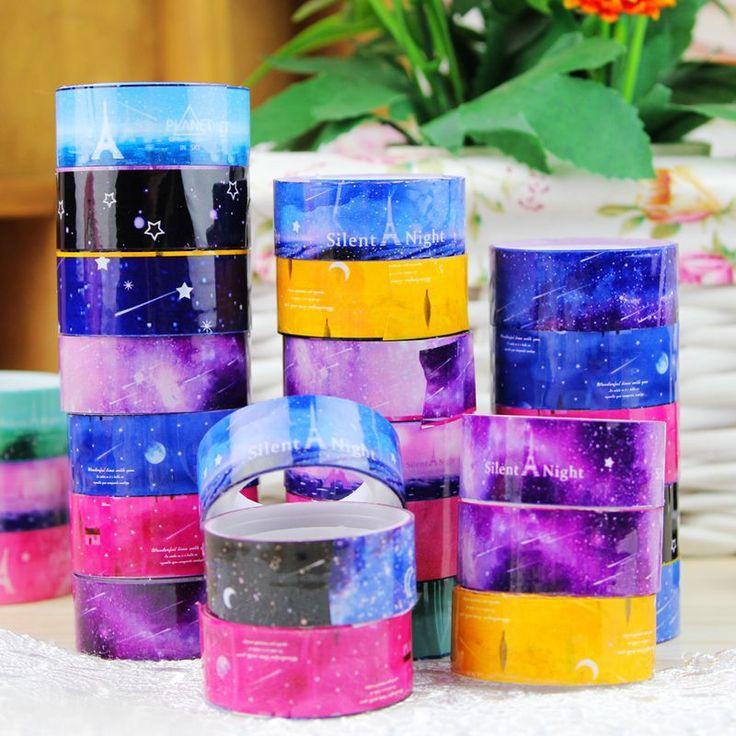 10 Unids/lote Cielo Estrellado Washi Rollo Pvc Diy Decoración Scrapbooking Etiqueta Adhesiva Cinta Adhesiva