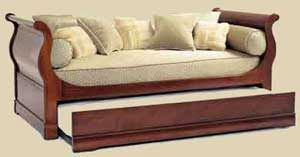Daybed in sleigh bed style with trundle.