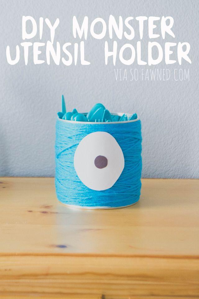 easy DIY for monster mash party or halloween party, yarn wrapped monster utensil holder