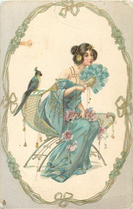mujer sentada en el oval, mirando hacia la derecha, loro detrás de ella, dorado, verde, nouveau, forget-me-not marco, envolvente gris
