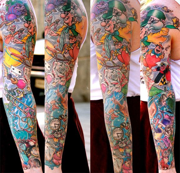 Alice In Wonderland Sleeve - by Steve Hayes @ Atomic Zombie Tattoo in Edmonton