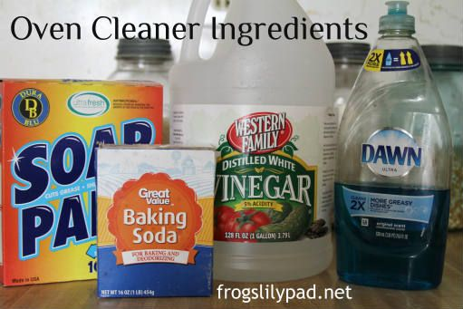 Cleaning My Self-Cleaning Oven Safely: no heat, no fumes, and no harsh chemicals. RECIPE included - Vinegar, Baking Soda, and Dish Detergent, frogslilypad.net