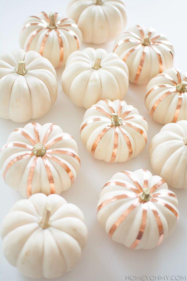 Copper striped white pumpkins