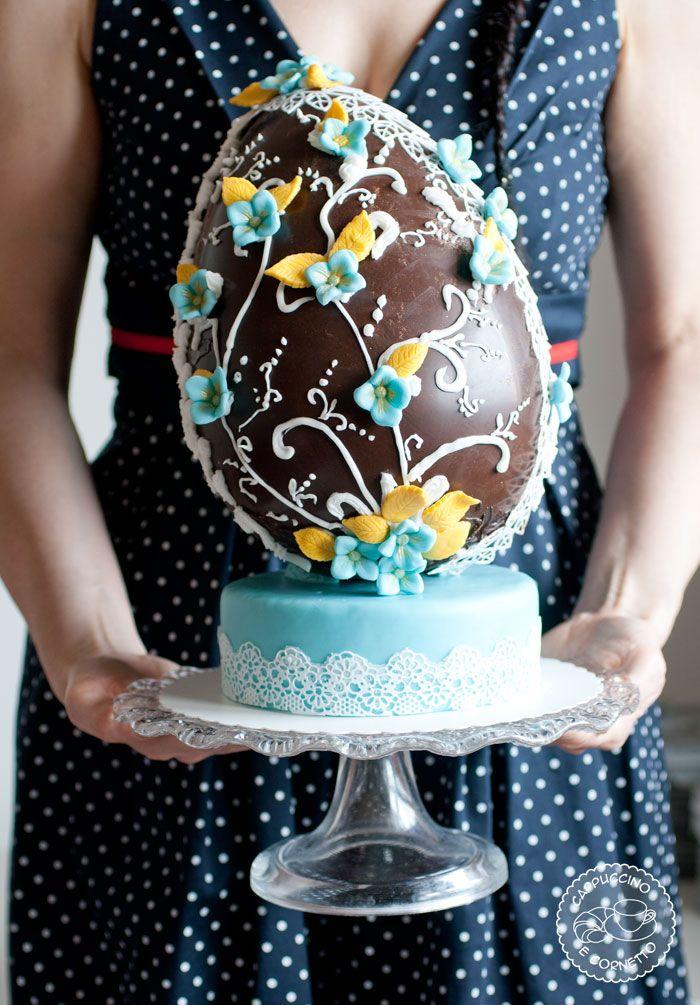 CHOCOLATE FLOWERED EASTER EGG ~
