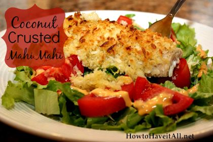 An easy recipe for mahi mahi. This coconut crusted mahi mahi is so good!