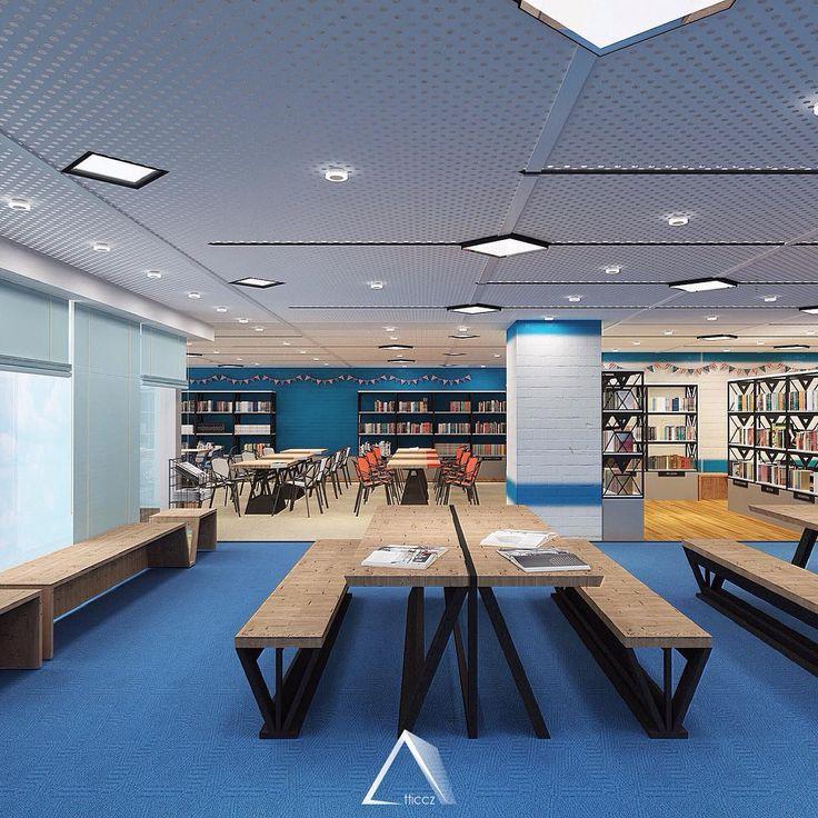 Library - American Center #blue #design #library #interior