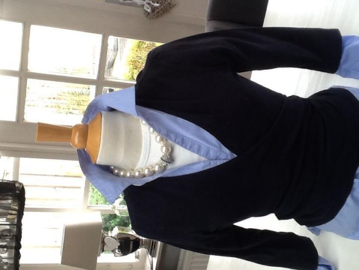Blanche 3/4 kwart mouw overslag vest donkerblauwe tricot. zelf maken!