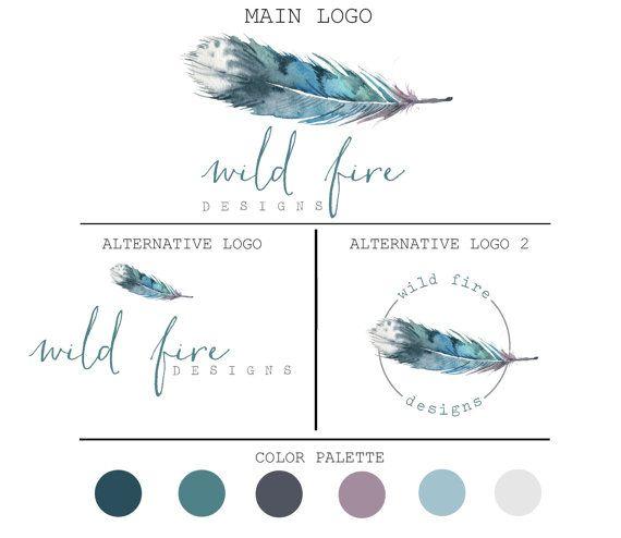 Logo package-Feather Logo-Boho by JupiterStreetDesigns on Etsy