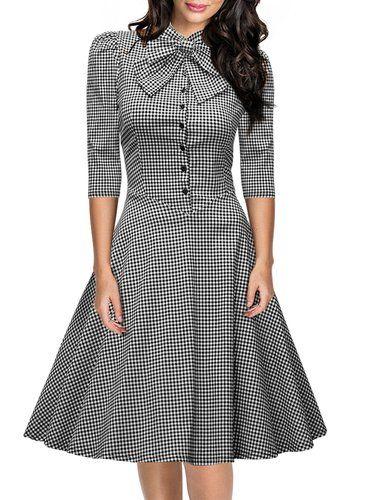 Miusol Women's Official Bow Neck Plaid Slim Half Sleeve Vintage Dress
