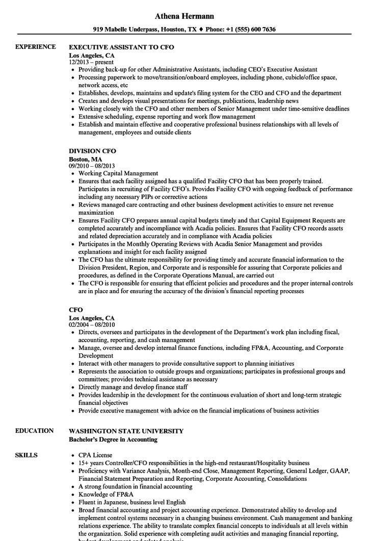 Cfo Resume Template in 2020 Good resume examples, Resume