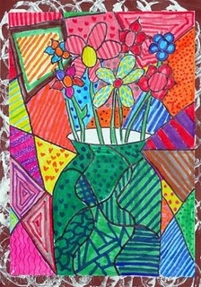 Romero Britto type lesson and still life observation drawing I am thinking