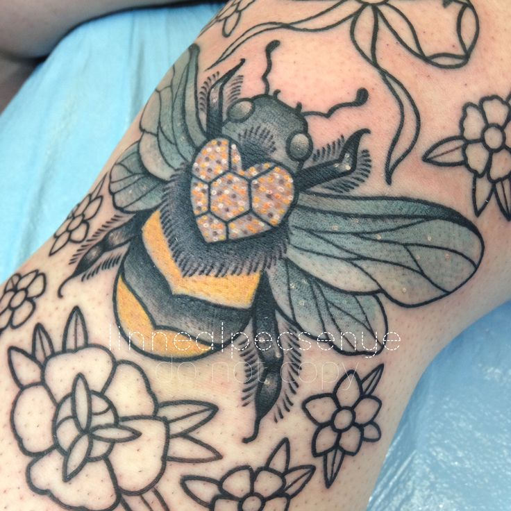 Bees Knees Tattoo by Linnea Pecsenye @linneatattoos in Asheville, NC