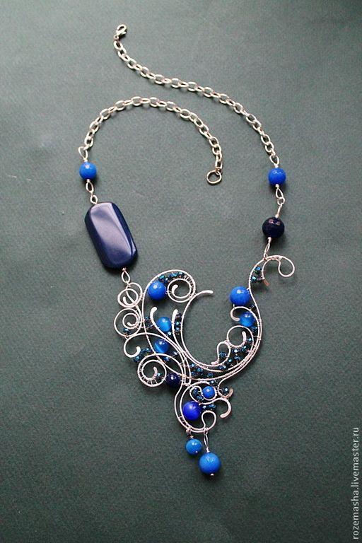 Купить Колье Downton Abbey (вариант в синем) - тёмно-синий, колье, подарок, комплект, изящное