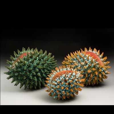 William Kidd, Artist,  low-fire red earthenware clay, underglazes, crawl glaze