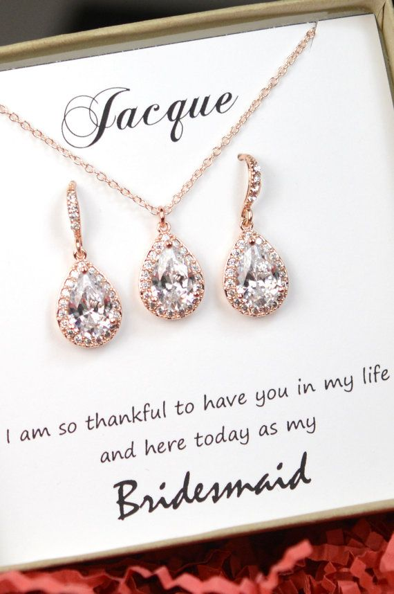 Personalized Bridesmaid Gift, Rose Gold Bridesmaid Earrings Necklace Bracelet, Bridesmaid Jewelry Set, Mother of Bride Gift,Bridesmaid Gifts   Item will come with gift box , note card . Please specify which card you want , or this is the gift for who so i can include the appropriate card .  FOR BRIDESMAID GIFTS : on note to seller box at check out , please provide all the bridesmaid names so that i can include them on the cards ( sample cards as show ) . If you have different message that…