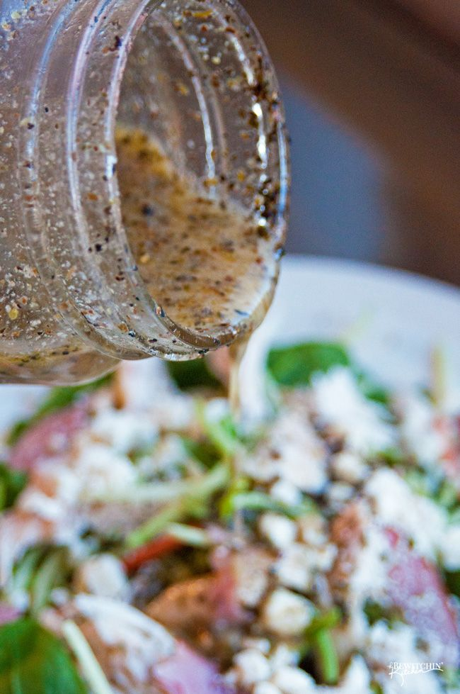 Homemade Greek Vinaigrette. This homemade salad dressing is delicious over salads, as a marinade and on a greek pizza! A clean eating recipe favorite!