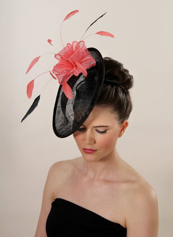 Coral and Black fascinator.  Wedding races by Fascinatorshats, £98.00