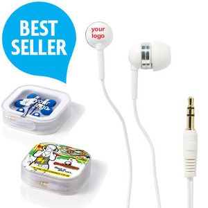 These Premium Promotional Earphones are high quality and well priced with a large branding area on the case as well as the earbud casing.  Maximum one colour print to each earbud  Supplied in a clear plastic presentation case with translucent plastic cover, ideal for spot colour or full colour printing.  Coloured earbuds including black, orange, red, green or blue available for an additional cost.