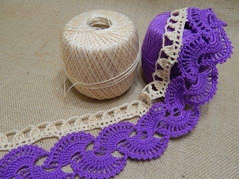Orilla # 14 Abanicos dos colores Crochet parte 1 de 2 - YouTube
