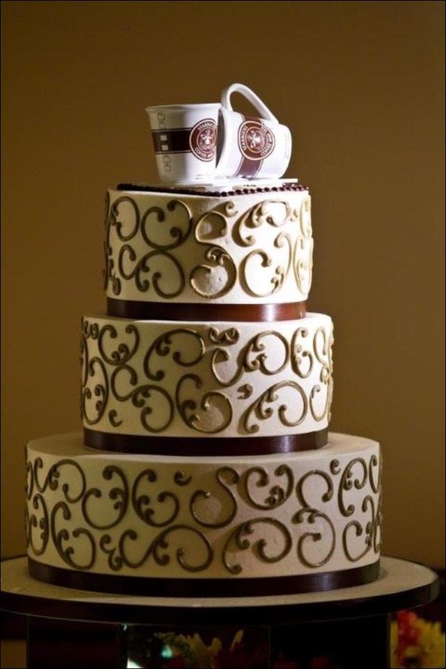 My Delicious Coffee Themed Wedding Cake