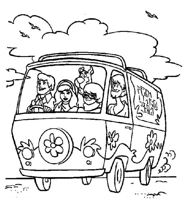 scooby doo scooby doo team riding mystery machine car coloring page - Mystery Pictures Coloring Pages