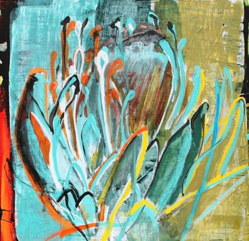 Janine Holloway-Protea 2-Acrylic on board-300x300mm-Sold