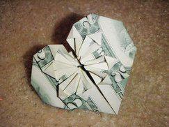 Dollar Bill Origami Heart #dollar #heart #origami