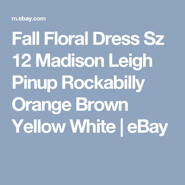 Fall Floral Dress Sz 12 Madison Leigh Pinup Rockabilly Orange Brown Yellow White | eBay