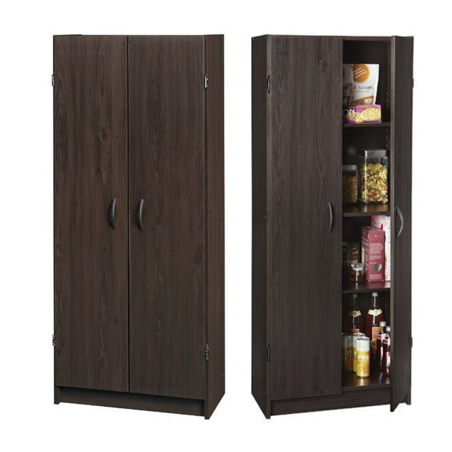Kitchen Pantry Cabinet 2 Door Tall Storage Organizer 4 Shelves Espresso Wood Pantrycabinet Kitchenpantr Kitchen Pantry Cabinets Pantry Cabinet Kitchen Pantry