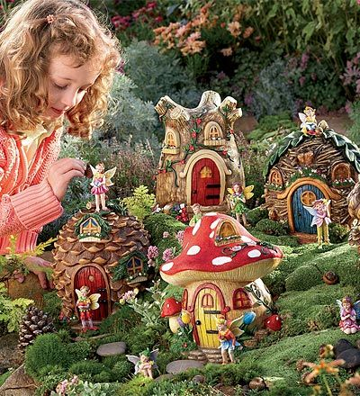 "9"" Fairy Village Houses and Set of 5 Fairies Special"