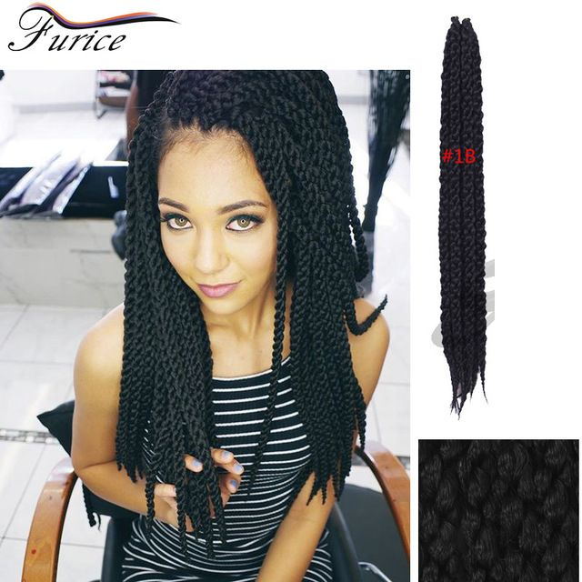 22inch  3D Split Cubic Twist Crochet Braids  Havana Mambo Twist Crochet Braid Hair Senegal 3D Cubic crochet braiding hair black